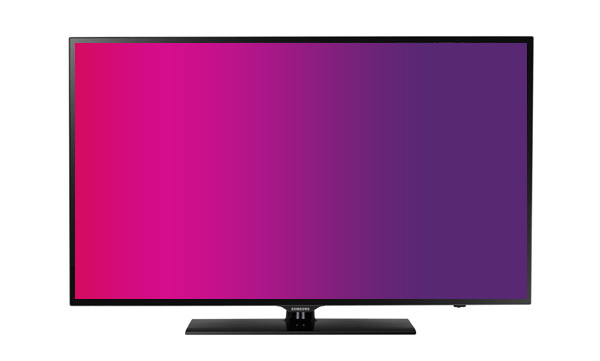 Television Showing Solid Fuscia Screen