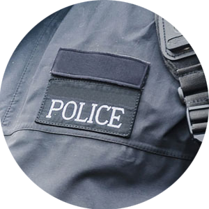 Police patch on vest