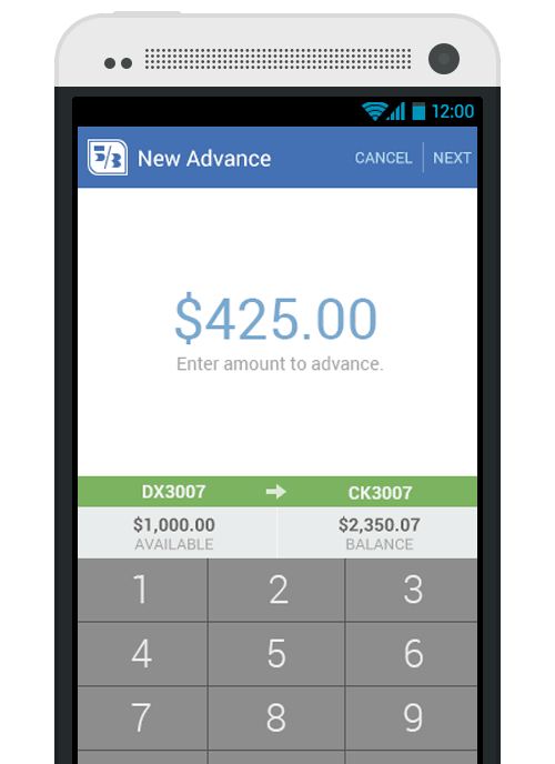Rendering of account balance displayed from Fifth Third Bank application