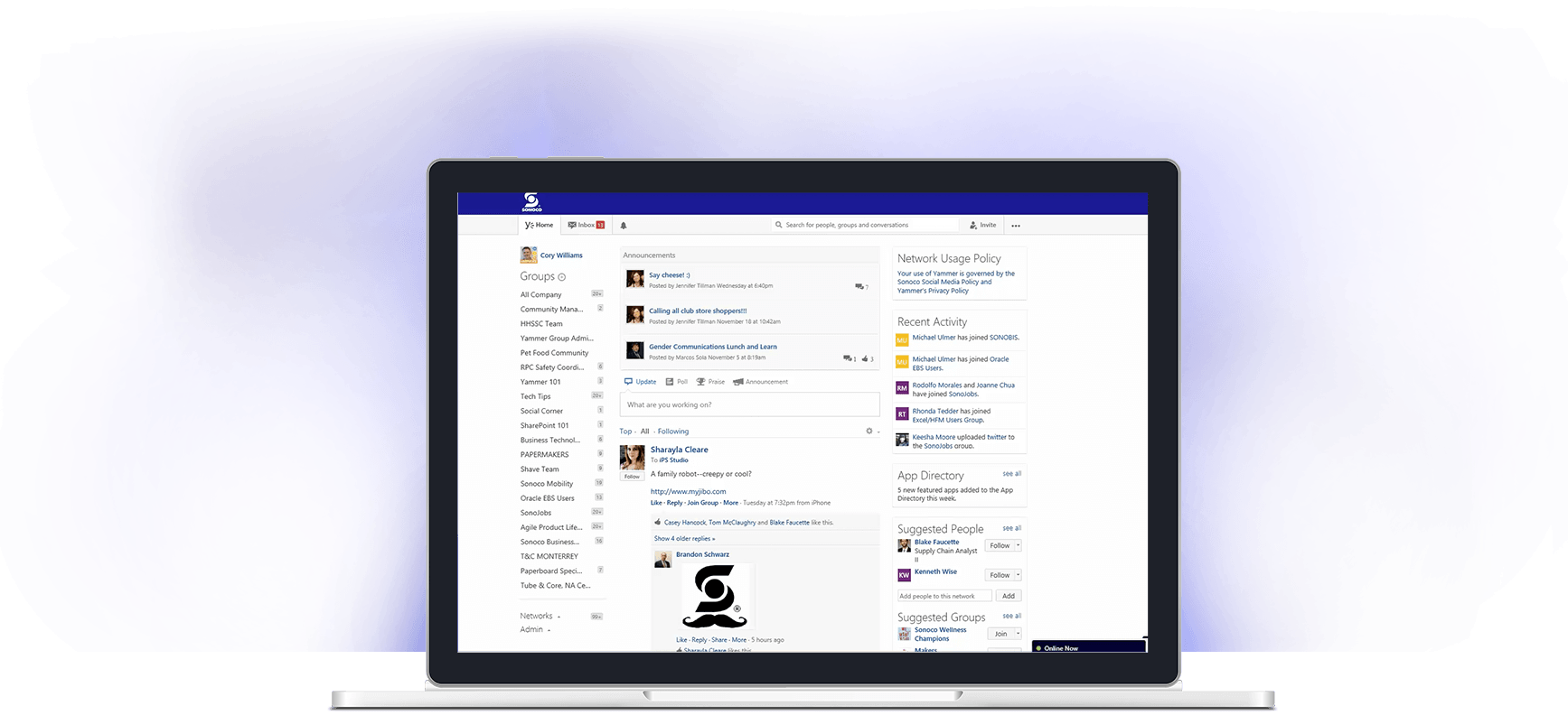 Rendering of Sonoco Yammer experience through Office 365