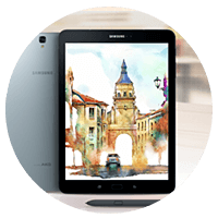 Samsung Galaxy Tablet running apps on Android