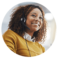 Call center support representative ready to help resolve issues