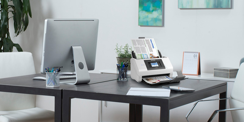 Epson scanner on modern desk office space