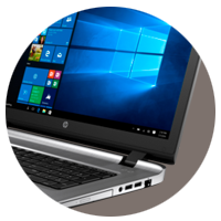 HP ProBook 470 G3 notebook pc open display using Windows 10 and tilted left and showing USB ports