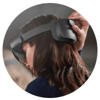 Microsoft HoloLens 2 woman wearing headset