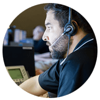 Remote technical support representative on call with client