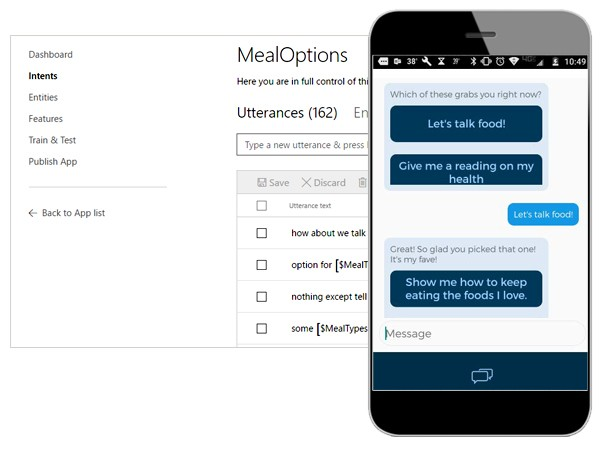 Illustrated example of the BlueMetal healthcare chat app.