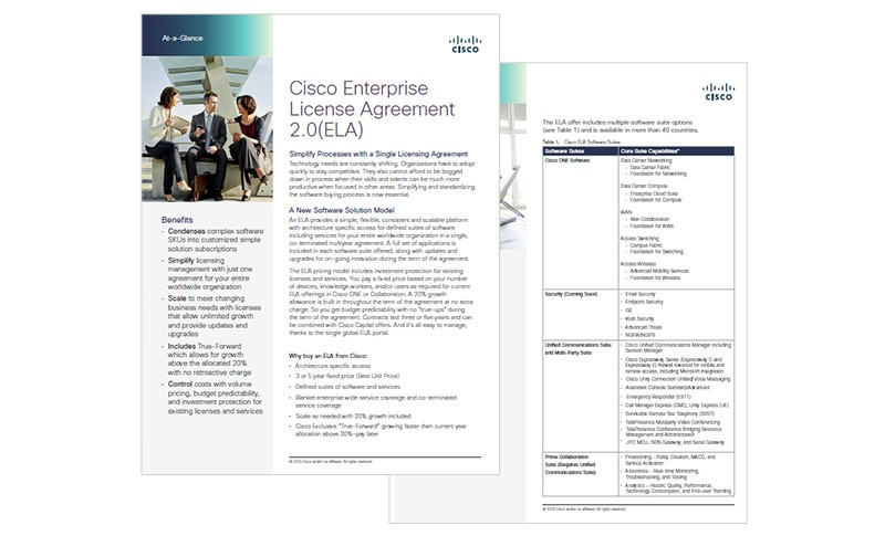 Cisco ELA 2.0 datasheet cover page.