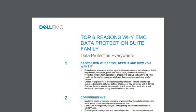 Cover of Dell EMC Six Reasons Why EMC Data Protection Suite Family datasheet