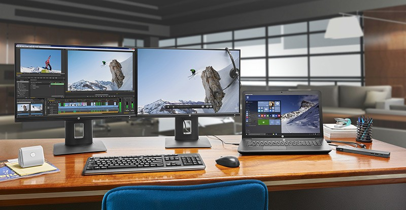 HP Dual Display set up with the Z24n Displays, the HP ZBook 17 Mobile Workstation, a wireless keyboard and mouse in a Media and Entertainment office