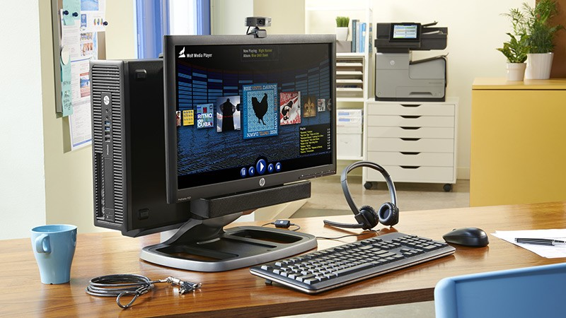 HP ProDesk 600 SFF mounted on the HP ProDisplay P221 with IWC stand and HP Officejet Enterprise Color Flow MFP X585