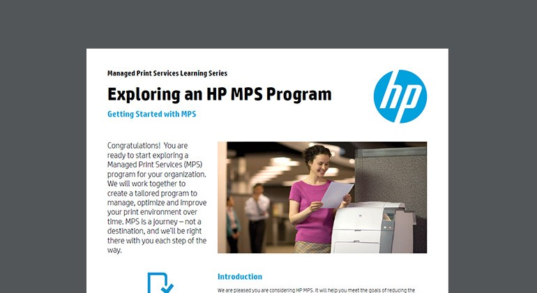 Cover of Exploring an HP MPS Program brief
