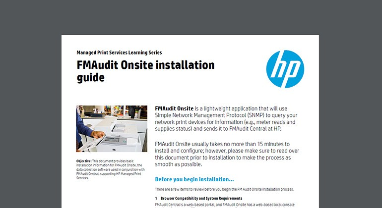 Cover of FMAudit Onsite installation guide
