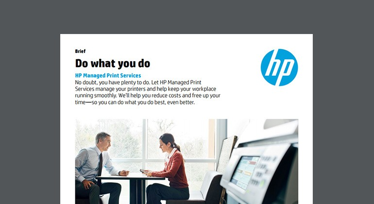 Cover of HP Do what you do Managed Print Services brief