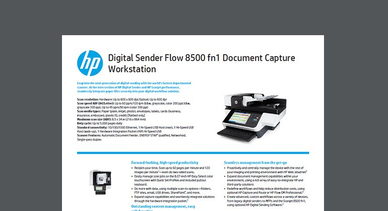 Cover of HP Digital Sender Flow 8500 fn1 Document Capture Workstation datasheet