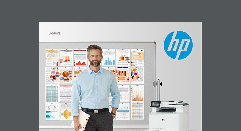 Cover of HP LaserJet printers and MFPs brochure