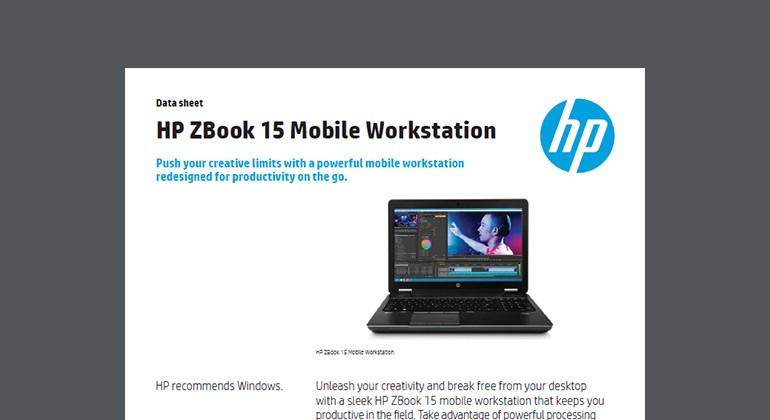HP ZBook 15 Mobile Workstation whitepaper first page