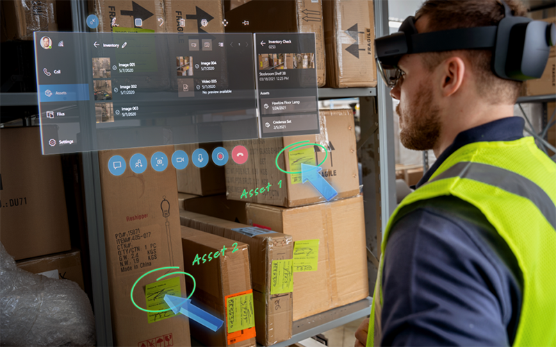 Engineers using Microsoft Hololens headset