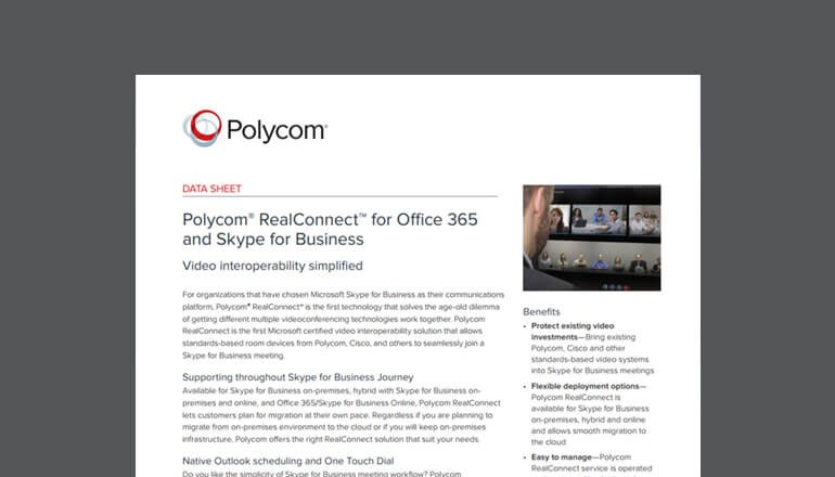 Polycom RealConnect for Office 365 & Skype datasheet cover