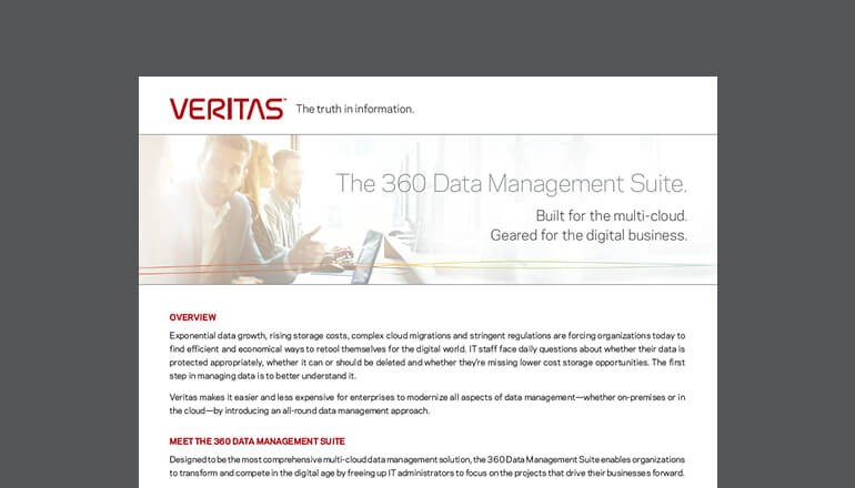 The 360 Data Management Suite Built for the Cloud cover