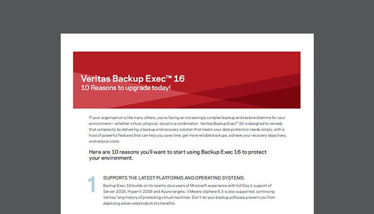 Veritas Backup Exec 16: 10 Reasons to Upgrade Cover