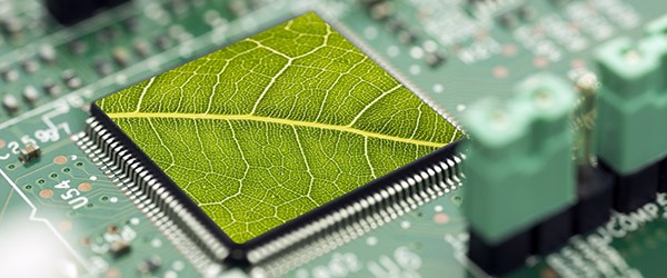 Concept of computer motherboard with green leaf texture as the processor