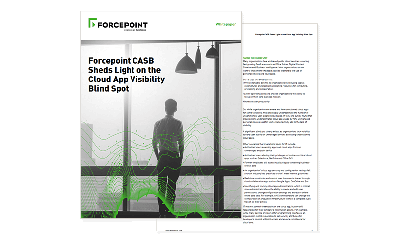 Forcepoint CASB Sheds Light on Cloud Blind Spot cover page
