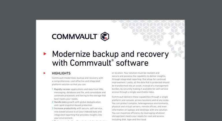 Preview of Modernize Backup and Recovery With Commvault Software datasheet