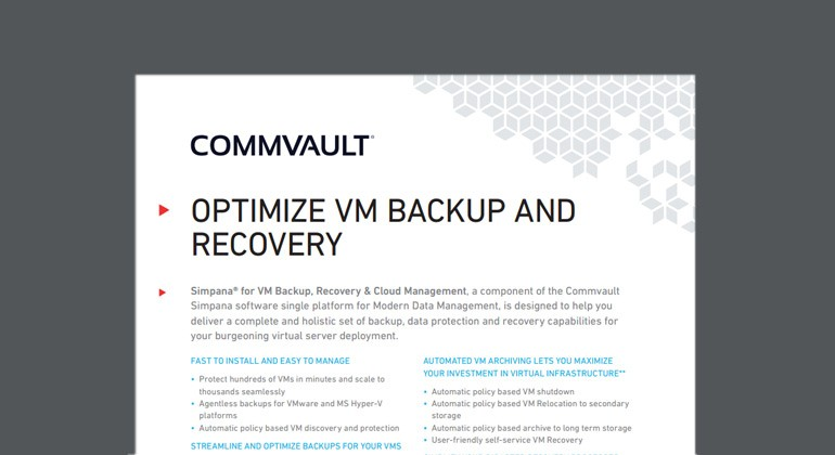 Preview of Optimize VM Backup and Recovery datasheet