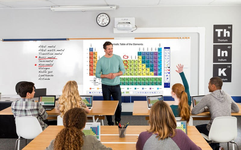Classroom full of students with Epson projector displaying lesson