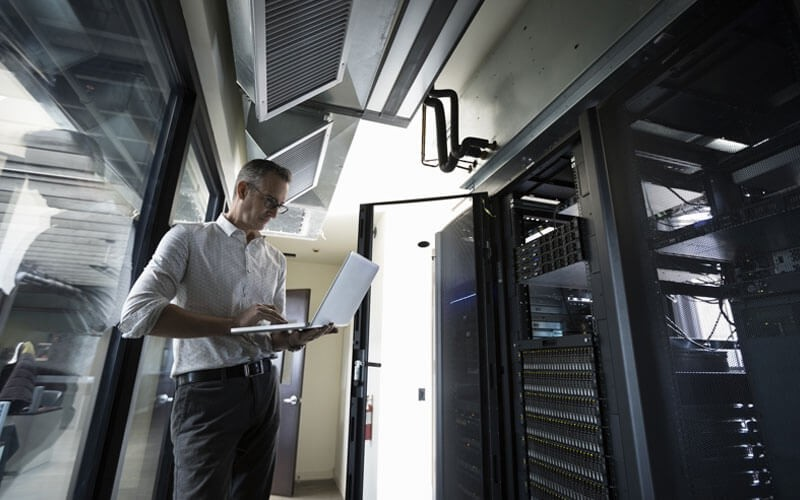 Man working in data room
