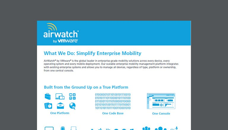 AirWatch What We Do: Simplify Enterprise Mobility product overview cover